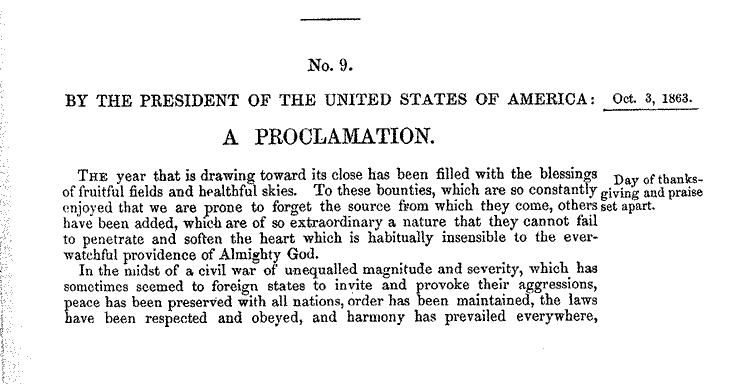 Thanksgiving Proclamation by Abraham Lincoln